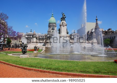 Congressional Plaza is a public park facing the Argentine Congress in Buenos Aires Argentina. The plaza is part open space comprising 3 adjoining plazas to the east of the Congress building