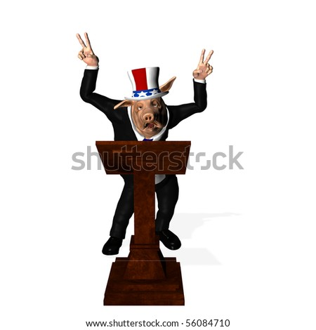 Congressional Pork - Podium 2. Congressman standing at a podium giving the peace sign.  Political humor. Isolated on a white background.
