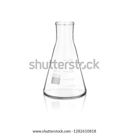 Conical flask isolated on white. Chemistry laboratory glassware