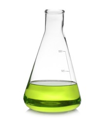 Conical flask with color liquid isolated on white