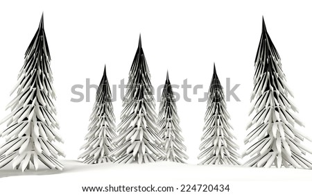 Conifer trees on winter country with snow