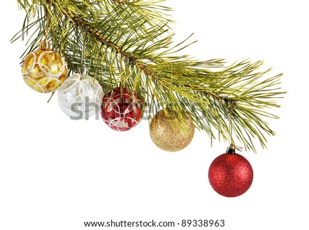 Coniferous branch decorated with New Year balls #89338963