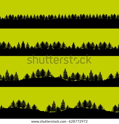Coniferous forest trees silhouettes background illustration. Horizontal abstract banners of wood covered hills in black over green.