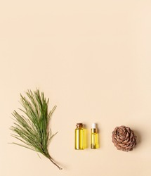 Coniferous spa aromatic essential cedar oil in small glass bottles, branch, cone on beige backdrop with copy space.