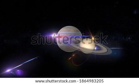 conjunction of jupiter and saturn 3d rendering illustration Stockfoto ©