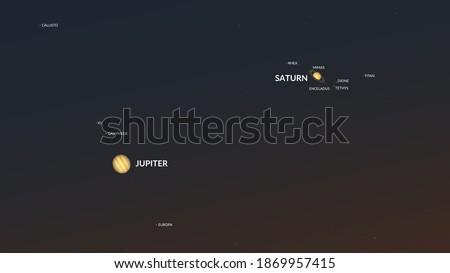 Conjunction of Jupiter and Saturn on December 21st (2020). Stockfoto ©
