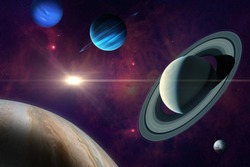 Conjunction of Jupiter and Saturn. Planet of solar system: Jupiter, Saturn Neptune, Uranus and Pluto. Gas giants planets. Elements of this image furnished by NASA.