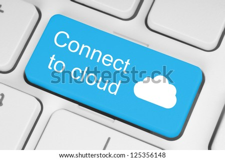 Connect to cloud concept on blue button of the keyboard - stock photo