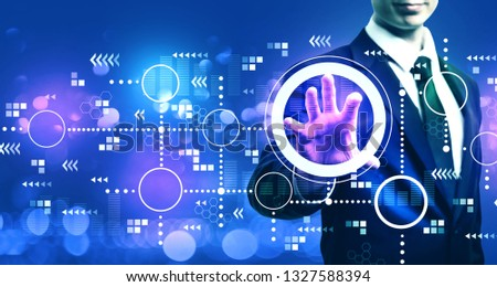 Connected circles chart with businessman on blurred blue light background #1327588394