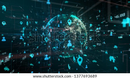 Connected devices Internet of things (IoT) cloud computing big data network of information technology - conceptual 3D render