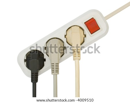Connected electric plugs, isolated on white background