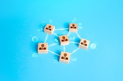 Connected group of people. Work a self-governing team without a leader. Communication and interaction between, exchange of information, skills and mutual assistance. Highly efficient organization.