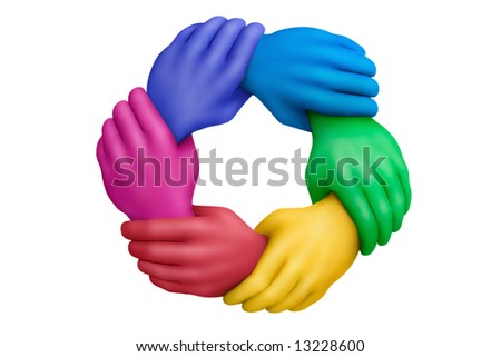 Connected multicolored plasticine hands on a white background