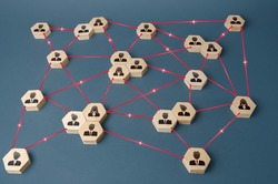 Connected people. Interactions between employees and working groups. Networking communication. Decentralized hierarchical system of company. Partnerships, business connections. Organization concept