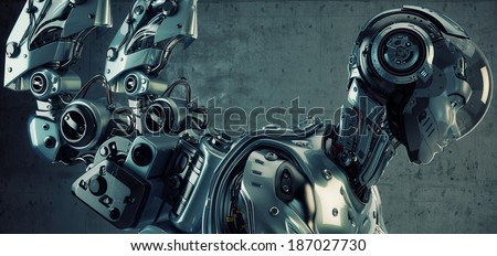 Stock Photo Connected robot in profile 3d render