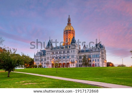 Connecticut State Capitol in downtown Hartford, Connecticut in USA at sunset Сток-фото ©