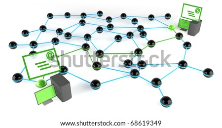 Connecting and communicating across a network via email