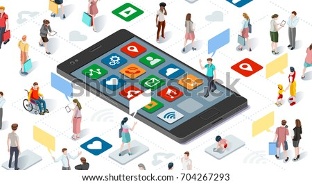 Connecting people and social media graphic template with flat isometric elements people and smartphone devices illustration
