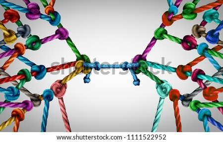 Connecting teams and connected group concept as many different ropes tied and linked together as an unbreakable chain as business trust metaphor linking partners for teamwork support and strength. Stock photo ©