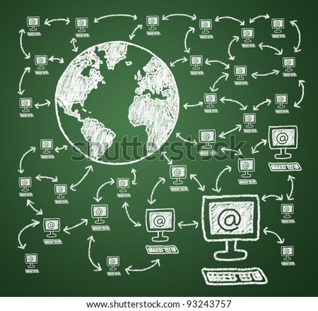 Connecting the computer to the Internet. Join the online community. - stock photo