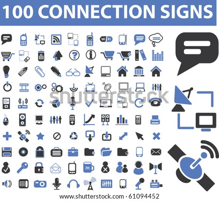 connection, communication, link, internet, online, phone, computer network, hosting, system administration, router, laptop, tower, antenna, equipment, lan, broadcasting, technology icons, signs vector