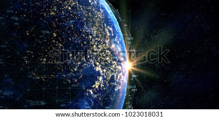 Stock Photo Connection lines Around Earth, Blockchain network concept. Futuristic Technology Theme Background with Light Effect. Some elements of the image provided by NASA. 3D Rendering/Global International