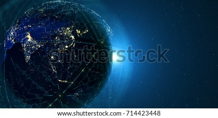 Connection lines Around Earth Globe, Futuristic Technology  Theme Background with Light Effect. Some elements of the image provided by NASA. 3D Render/Global International Connectivity Background