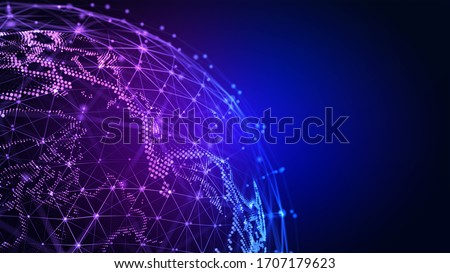 Connection lines Globe. Background with Light Effect. Global International Connectivity Background. 3D illustration.
