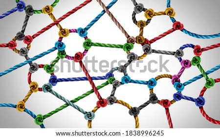 Connection network concept and connected diversity as circle shaped group of ropes creating a connected networking horizontal composition as a connect concept for business or social media.