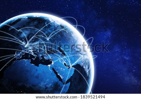 Connections around planet Earth viewed from space at night, cities connected around the globe by shiny lines, international travel or global business finance, world connectivity, elements from NASA