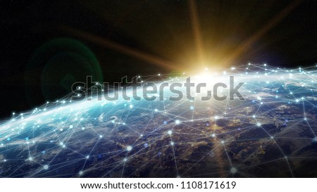 Connections system and global datas exchanges over the globe 3D rendering elements of this image furnished by NASA #1108171619