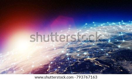 Connections system and global datas exchanges over the globe 3D rendering elements of this image furnished by NASA #793767163