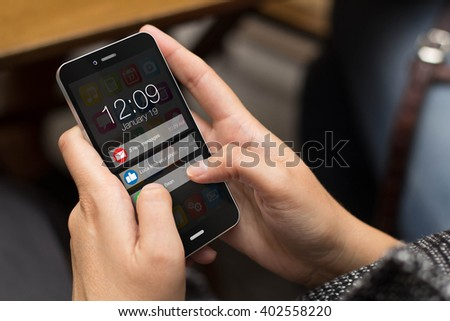 connectivity concept: girl using a digital generated phone with notifications on the screen. All screen graphics are made up.