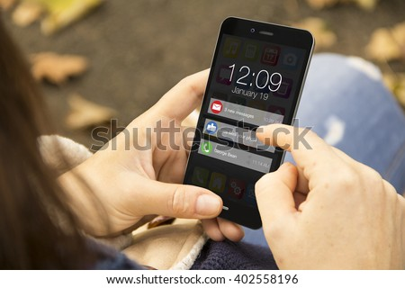 connectivity concept: woman holding a 3d generated smartphone with notifications on the screen. Graphics on screen are made up.