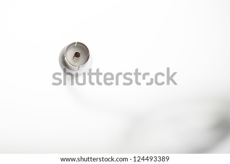 Connector of coax cable, female, at the end of a coaxial cable