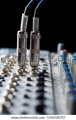 Connectors are connected in audio inputs - stock photo
