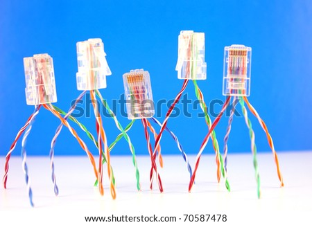 Connectors RJ45 for network. Shallow DOF.