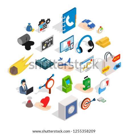Connexion icons set. Isometric set of 25 connexion icons for web isolated on white background Photo stock ©