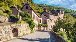 Conques village in the south of France in a sunny day