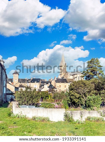 Conques village in the south of France in a sunny day Photo stock ©