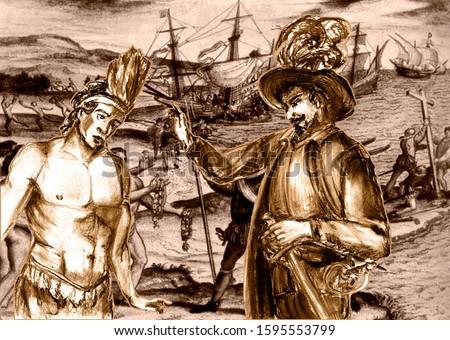 Conquistadors series. Juan de Grijalva was a Spanish conquistador, and relation of Diego Velázquez. The conquest of Yucatan and the Aztecs. Foto stock ©
