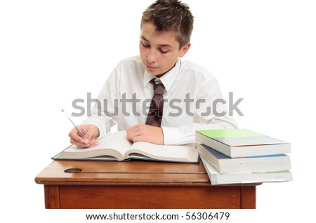 Conscientious high school student at desk with study books.