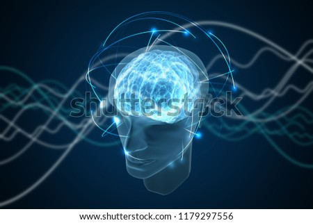Consciousness, metaphysics or artificial intelligence concept. Waves go through human head. 3D rendered illustration.