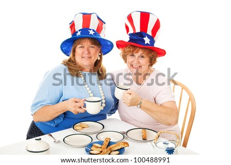 Conservative American voters sitting down to an actual tea party. White background.