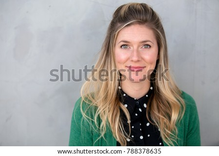 Conservative outdated unfashionable plain Jane headshot in nerdy bizarre outfit Сток-фото ©