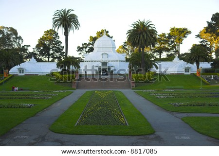 Conservatory of flowers in the park in San Francisco, California