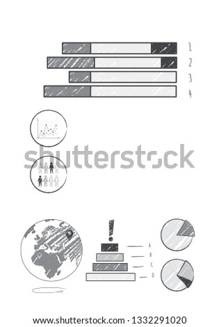 Consistent success visualization with world map data represented by bar and pie charts raster illustration isolated on white background