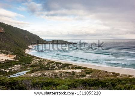 Conspicuous Cliff lookout view in Western Australia near the town of Walpole. Landscape with an ocean.