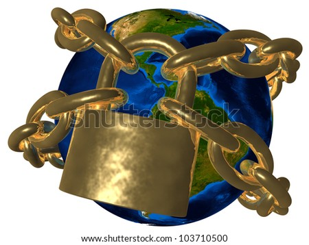 Conspiracy theories - Earth in golden chain - America Elements of this image furnished by NASA