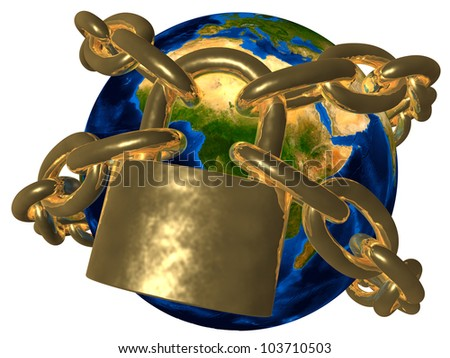 Conspiracy theories - Earth in golden chain - Europe Elements of this image furnished by NASA